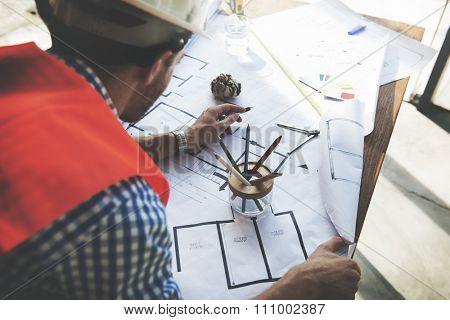 Architect Engineer Blueprint Design Ideas Construction Concept