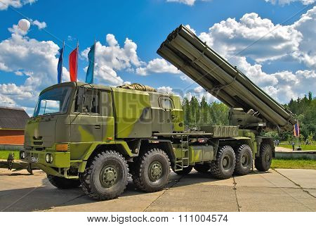Jet system of volley fire on truck. Russia