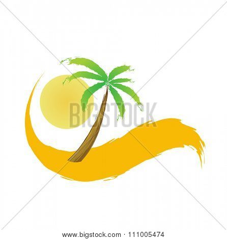 palm tree in the desert, illustration