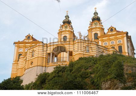 A Glimpse Of The Imposing And Ancient Monastery Of Melk On The Danube In Austria