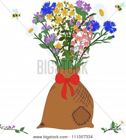 The bag with herbs - chamomile, angustifolium, cornflower, campanula, hypericum and bees