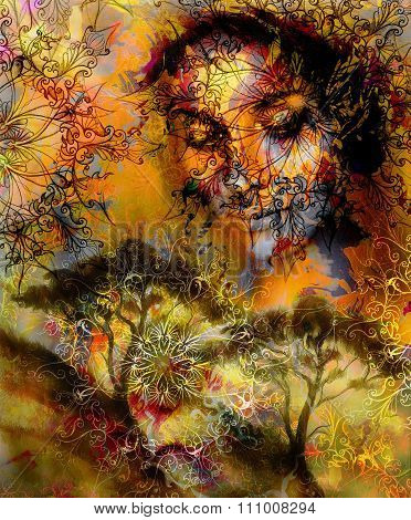 Goddess woman, with ornamental face and tree, color  background.