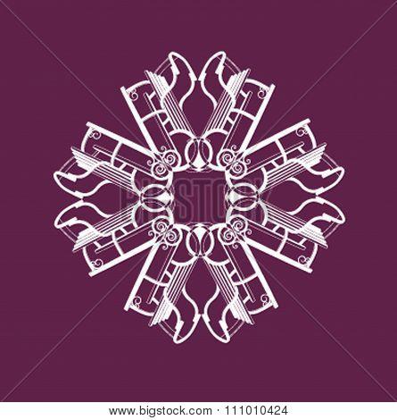 Snowflake composed of toboggans