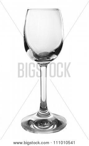 Empty liquor glass isolated on white