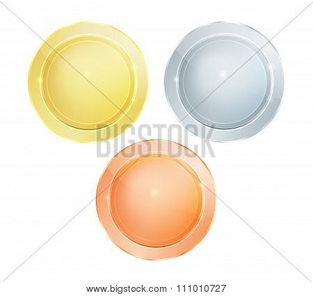 Empty Vector Glossy Polished Round Discs Of Gold Silver Bronze That Can Be Used As Medals, Coins, Bu