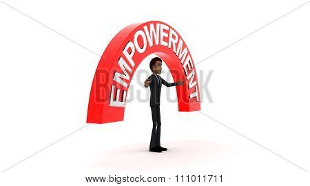 3D Man With Empowerment Text And Standing In Center Of Surrounding And Pointing Arrows Concept