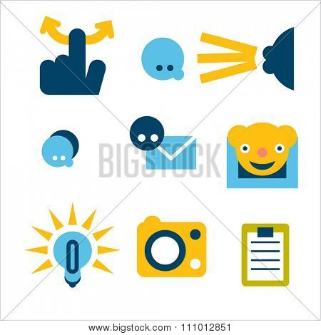 set of icons for mobile apps. Touchscreens applicable. Bright and colorful designs.