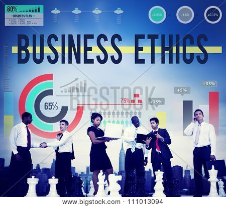 Business Ethics Laws Manner Legal Virtue Justice Regulations Concept