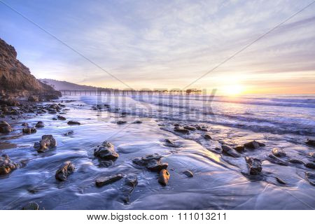 Beautiful Southern California Coastline At Sunset
