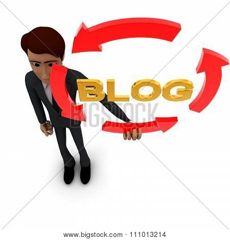 3D Man Holding Four Arrows  In Circular Shape And Blog Text Inside It Concept