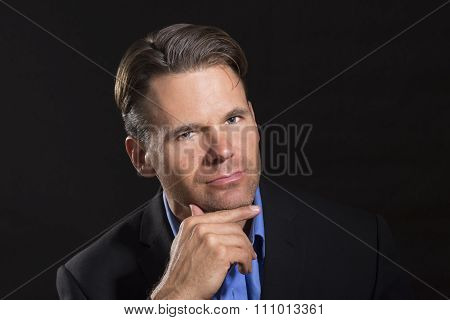 Sexy Intrigued Businessman Portrait