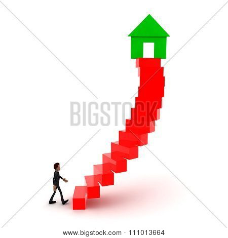 3D Man Walking Upwards To Home/house Symbol With The Help Of Stairs Concept
