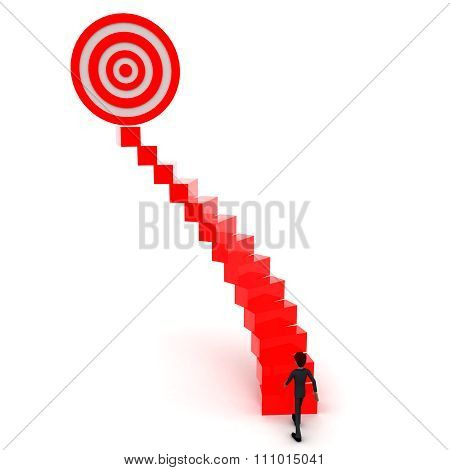 3D Man Walking Upwards To Target Symbol  With The Help Of Stairs Concept