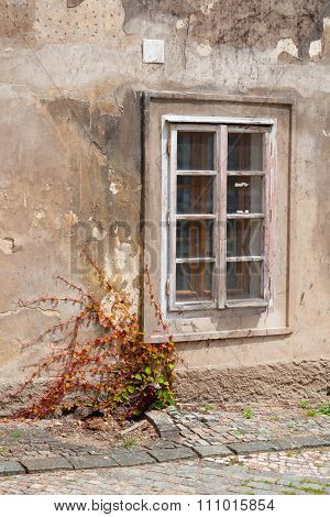 Window In The Old House On One Of Streets Of Prague