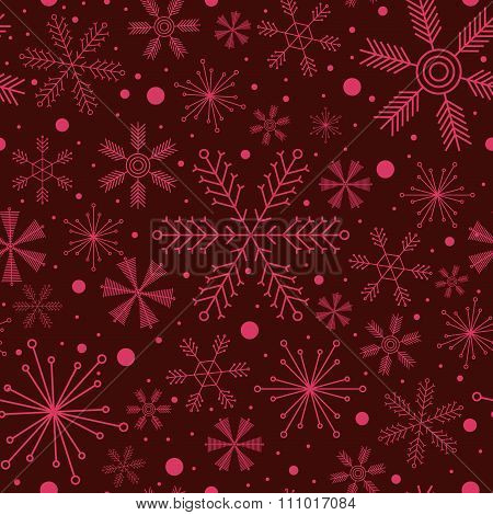 Christmas Seamless Pattern With Various Snowflakes On Vinous Background