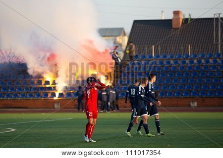 Background Of Fans On Tribune With Fires
