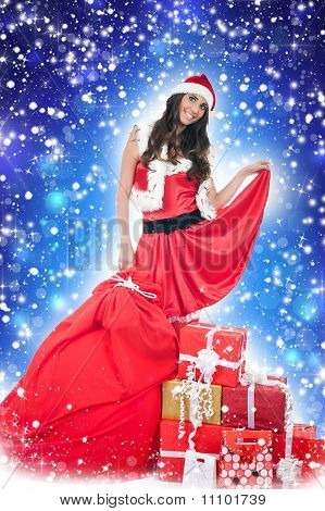 Santa Girl ,presents, Snow, Blue Abstract Background