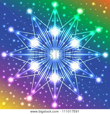 Luminous Star With Lights On Its Rays On Multicolored Background With Plenty Of Sparkles