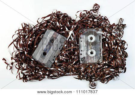 Audio Tape On White Backdrope