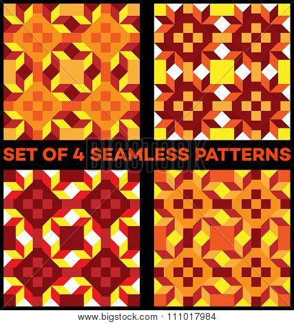 Set Of 4 Stylish Geometric Seamless Patterns With Rhombus, Triangles And Squares Of Yellow, Red, Vin