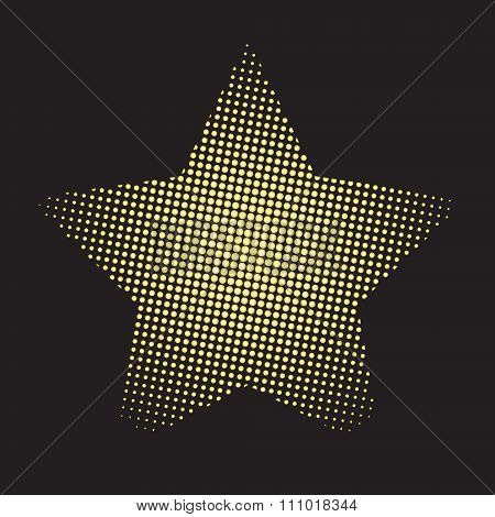 halftone hold gold doted star