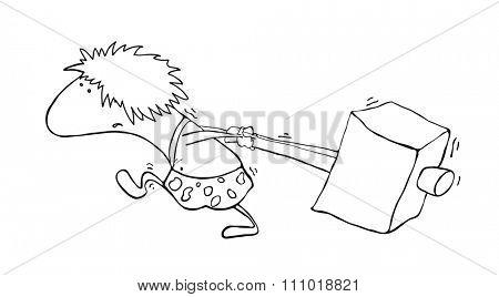 primitive man with a hammer, illustration