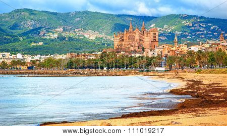 Panoramic View Of Palma Beach, Majorca, Spain