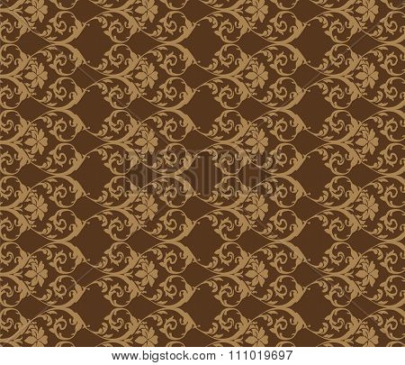 Bright brown vintage acanthus pattern
