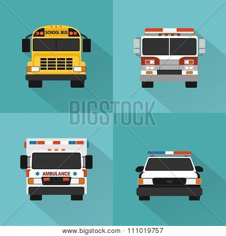 Flat service cars set. Police, ambulance, fire truck, school bus