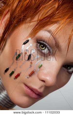 Close-up Face Of Futuristic Woman