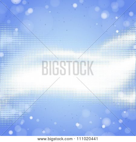 Abstract blue halftone background with lights elements