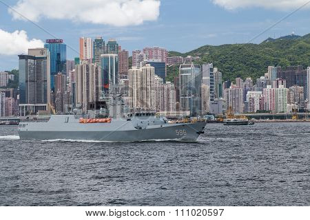 Hong Kong, Sar China - Circa July 2015: Chinese Navy Military Cruiser Destroyer Ship In Hong Kong, V