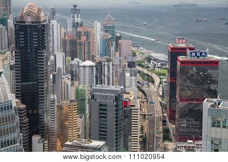 Hong Kong, Sar China - Circa July 2015: Dense High Rise Office Buildings Of Hong  Kong