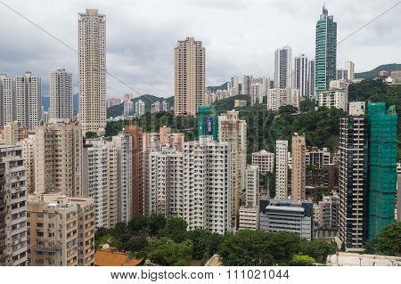 Hong Kong, Sar China - Circa July 2015: Dense High Rise Buildings Of Hong  Kong