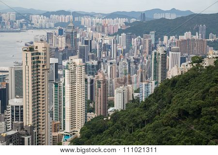 Hong Kong, Sar China - Circa July 2015: Dense High Rise Buildings Of Hong  Kong