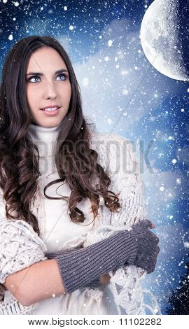 Woman, Snow, Night, Moon