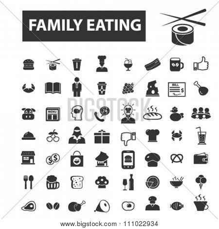 family eating, food & drinks icons