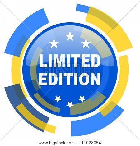 limited edition blue yellow glossy web icon