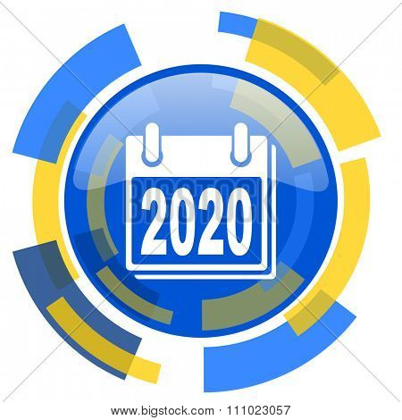new year 2020 blue yellow glossy web icon