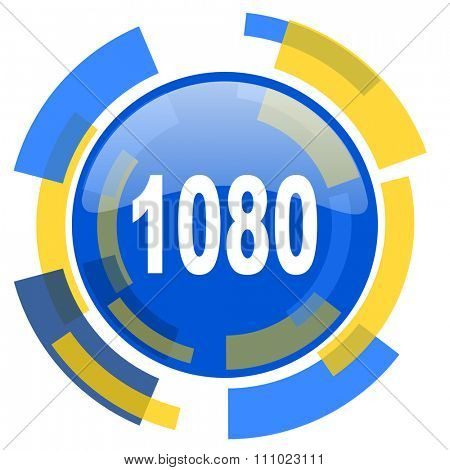 1080 blue yellow glossy web icon