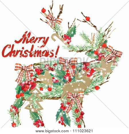 watercolor Christmas reindeer. Wish Merry Christmas text. watercolor winter holidays background. ill