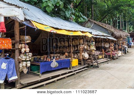 Luang Prabang, Laos - Circa August 2015: Souvenirs And Crafts Are Sold Around Kouangxi Waterfalls, L