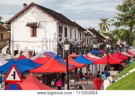 Luang Prabang, Laos - Circa August 2015: Tents Of Street Market In Luang Prabang,  Laos