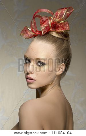 Woman With Lovely Christmas Make-up