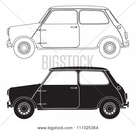 Old Small Car Outlines