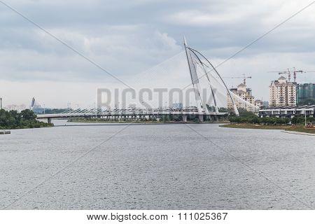 Putrajaya, Malaysia - Circa September 2015: Seri Wawasan Bridge In Putrajaya At Day  Time