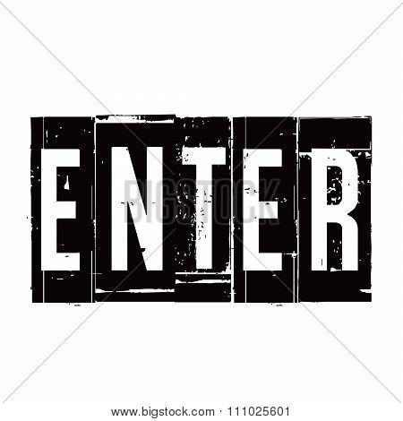 Black Vector Grunge Stamp Enter