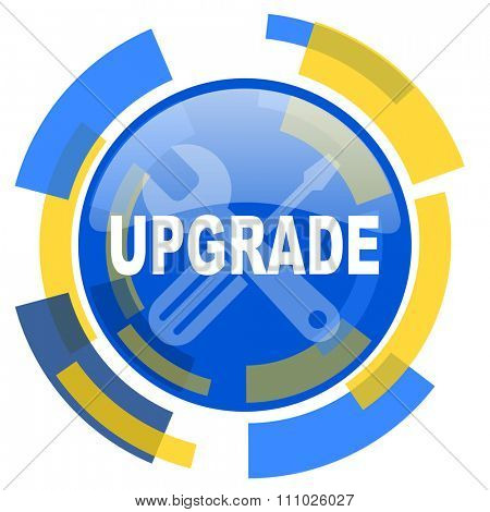 upgrade blue yellow glossy web icon