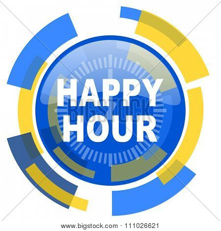 happy hour blue yellow glossy web icon