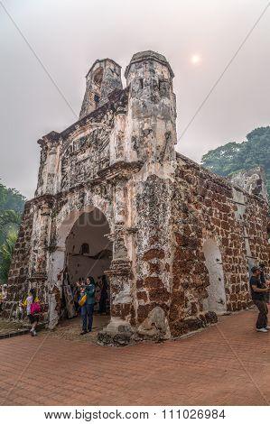 Malacca, Malaysia - Circa September 2015: Gate And Remnants Of A Famosa (kota A Famosa) Portuguese F